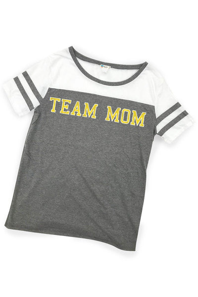 Team Mom Eco Triblend Sporty T-Shirt Tee Shirt Bun Maternity Nursing Apparel