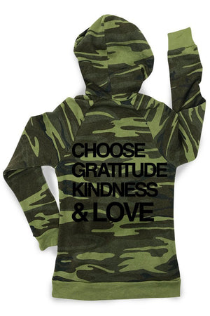 Gratitude Camo Zip Up Fleece Hoodie Hoodie Bun Maternity Nursing Apparel