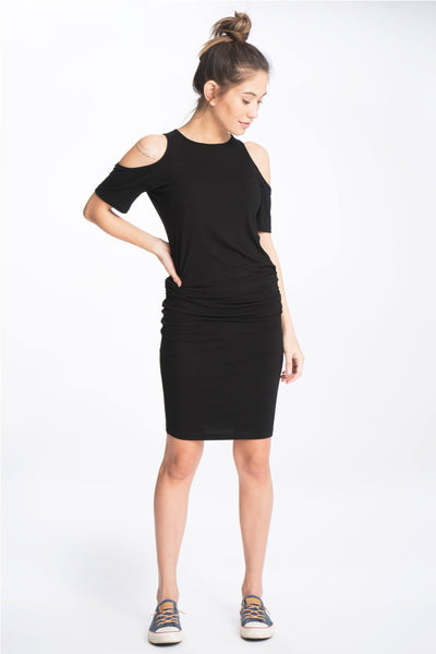Breezy Shoulder Maternity and Beyond Midi Dress, Dress, Bun Maternity- Bun Maternity