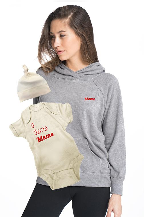 BABY LOVE Mommy and Me Set Mommy and Me Bun Maternity Nursing Apparel small 2/4 0-3 heather gray