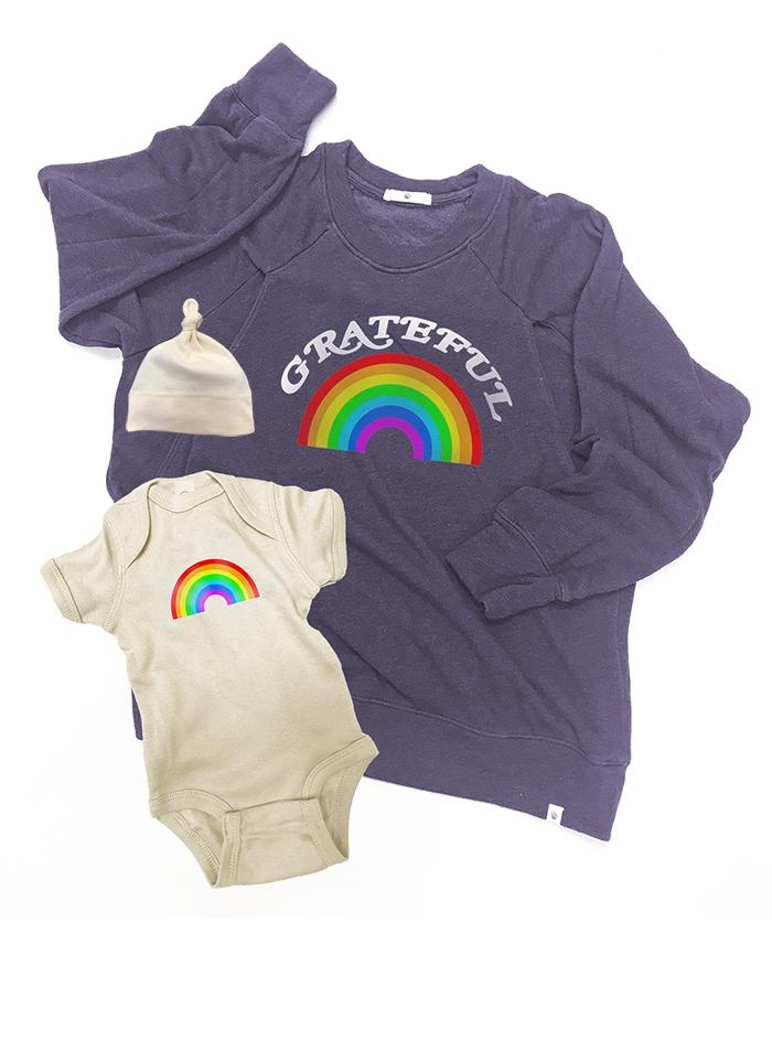 RAINBOW Mommy and Me Set Mommy and Me Bun Maternity Nursing Apparel small 2/4 0-3 violet verbena