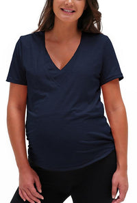 V Neck Nursing Tee Shirt Bun Short Sleeve Tee Shirt Bun Maternity Nursing Apparel small navy