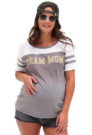 Team Mom Eco Triblend Sporty T-Shirt Tee Shirt Bun Maternity Nursing Apparel small 2/4 heather gray