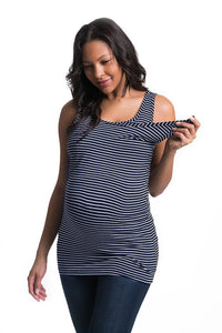Smooth Snap Nursing Tank Bun Maternity Nursing Tank Top Bun Maternity Nursing Apparel XS navy and white