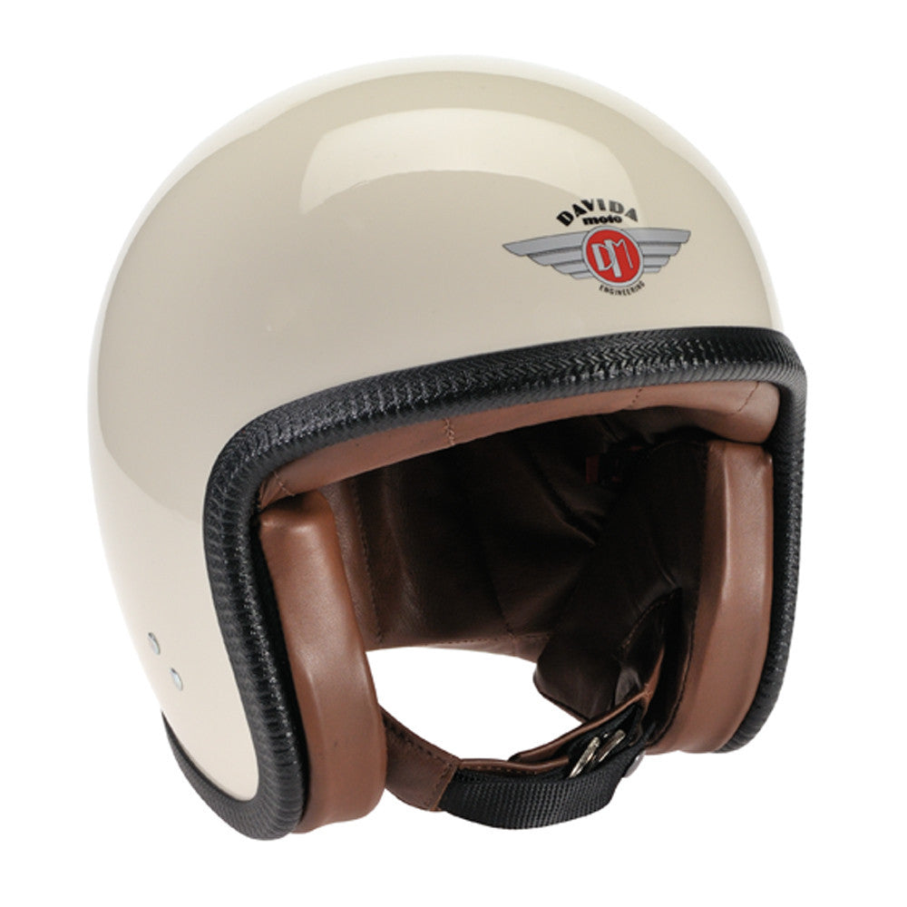 93514 - Cream ZNut Brown Leather Davida Speedsterv3 Helmet - Speedwear Ltd