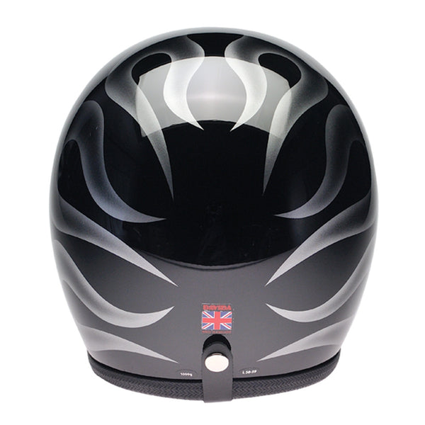 93533 - Black, Silver Flames Davida Speedsterv3 Helmet - Speedwear Ltd - 2