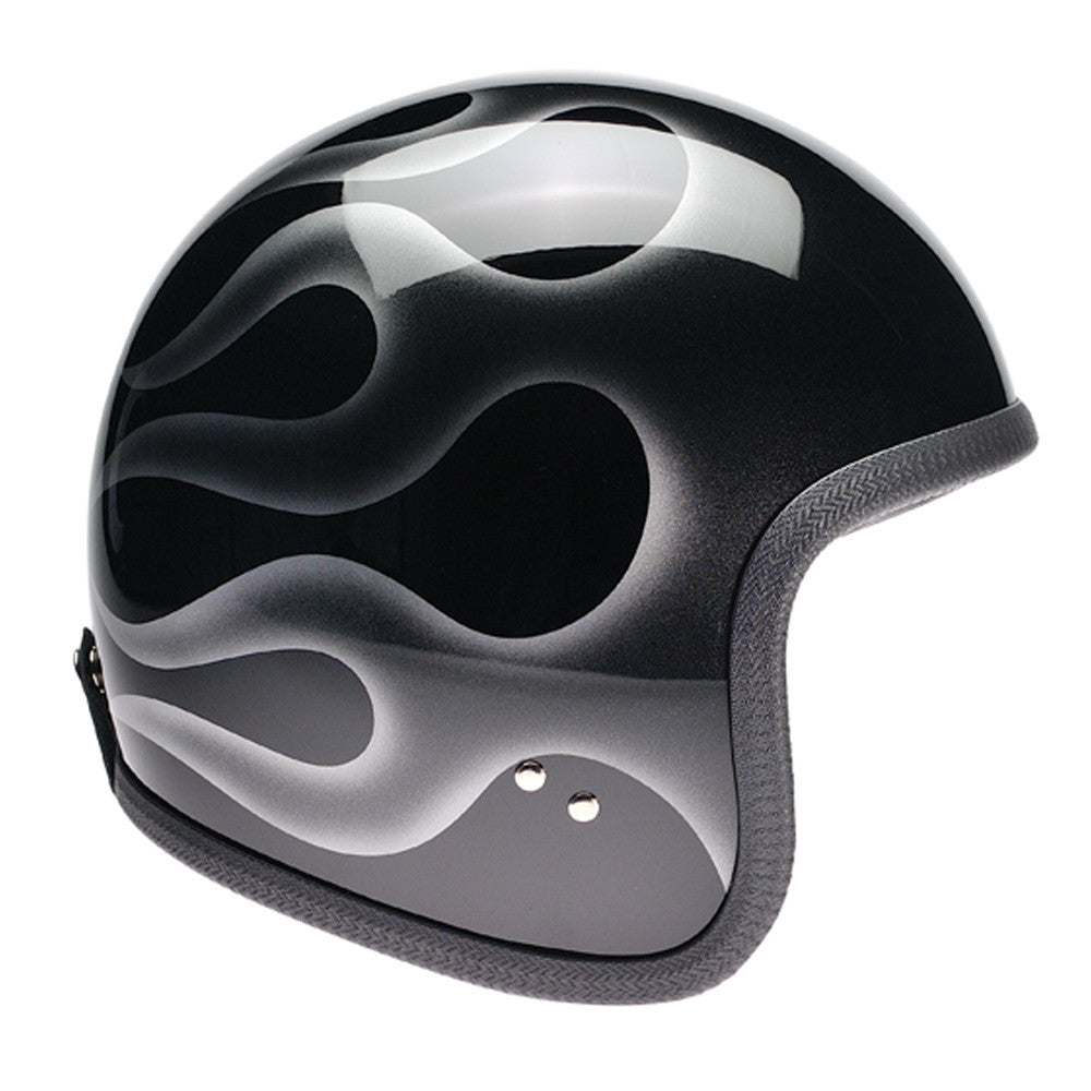 93533 - Black, Silver Flames Davida Speedsterv3 Helmet - Speedwear Ltd - 1