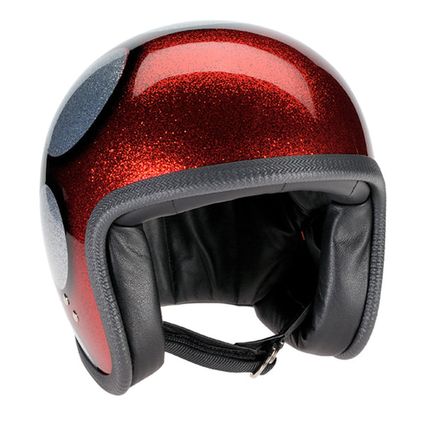 93754 - Cosmic Flake Silver Red Flames Davida Speedsterv3 Helmet - Speedwear Ltd - 2