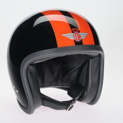 BLACK 2P ORANGE STRIPE DAVIDA NINETY TWO HELMET - Speedwear Ltd