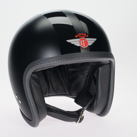MATT BLACK 2P BLACK STRIPE DAVIDA NINETY TWO HELMET - Speedwear Ltd