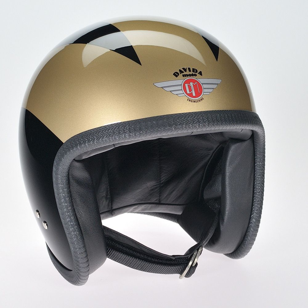 BLACK 3 GOLD LINES DAVIDA NINETY TWO HELMET - Speedwear Ltd