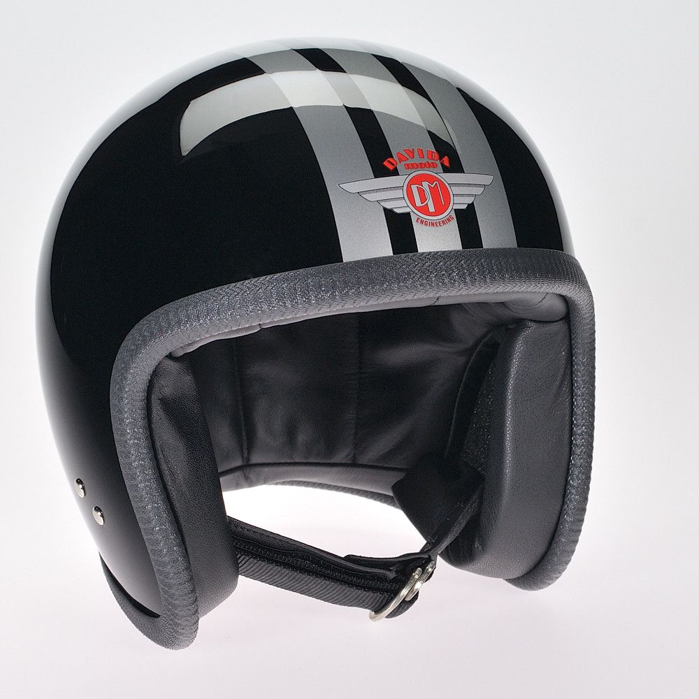 BLACK 3 STRIPE SILVER DAVIDA NINETY TWO HELMET - Speedwear Ltd