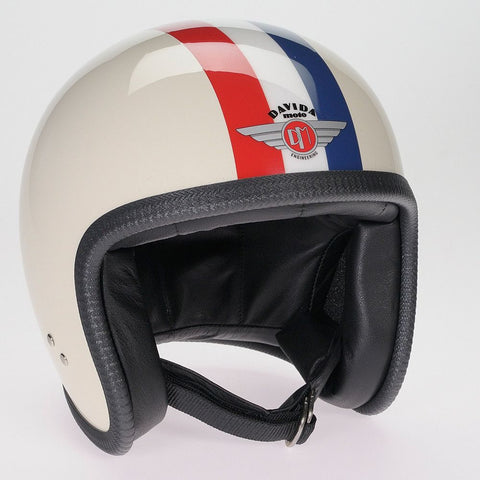 CREAM, RED, WHITE, BLUE, STRIPE DAVIDA NINETY TWO HELMET - Speedwear Ltd