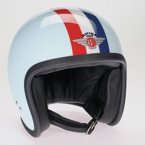 EGGSHELL BLUE, RED,WHITE,BLUE STRIPE DAVIDA NINETY TWO HELMET - Speedwear Ltd