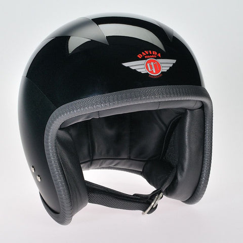 MATT BLACK 3 GLOSS BLACK LINES DAVIDA NINETY TWO HELMET - Speedwear Ltd