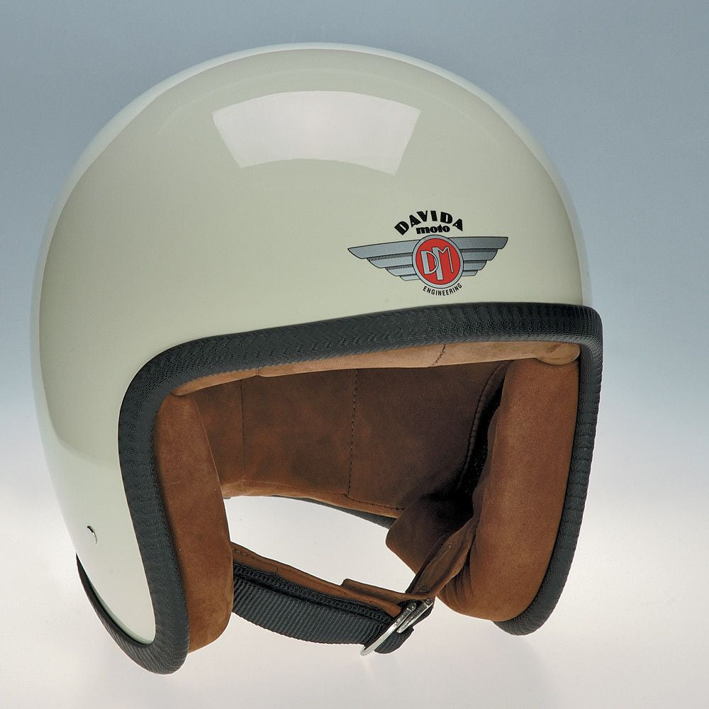 93513 - Cream Brown Leather Davida Speedsterv3 Helmet - Speedwear Ltd