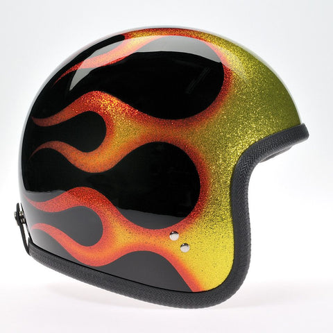 COSMIC FLAKE BLACK ORANGE FLAMES DAVIDA NINETY TWO HELMET - Speedwear Ltd