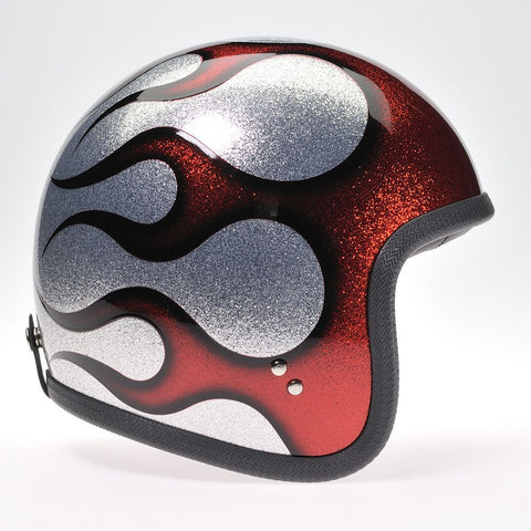 COSMIC FLAKE SILVER RED FLAMES DAVIDA NINETY TWO HELMET - Speedwear Ltd