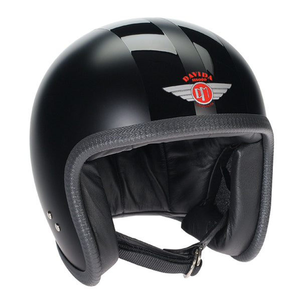 93227 - Matt Black 2P Gloss Black Stripe Davida Speedsterv3 Helmet - Speedwear Ltd - 1