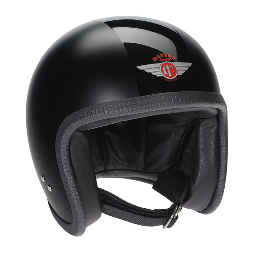 93260 - Matt Black Gloss Black Davida Speedsterv3 Helmet - Speedwear Ltd