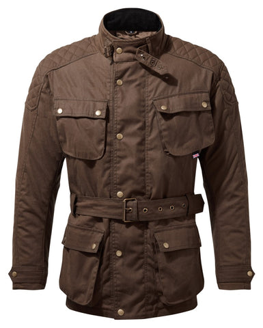 PULFORD® WAXED COTTON MOTORCYCLE JACKET IN BROWN