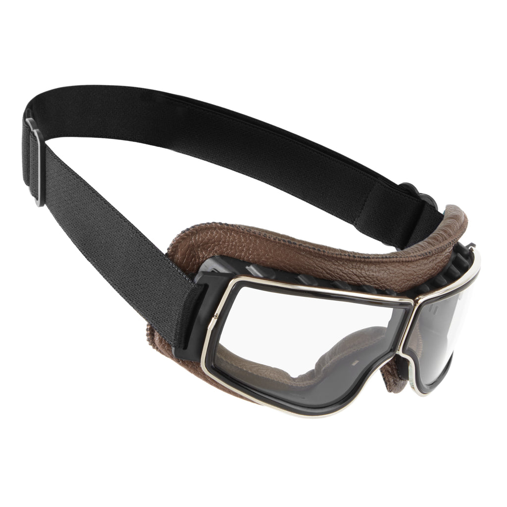 BROWN MERIDEN® RETRO STYLE MOTORCYCLE GOGGLES