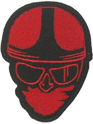 CLASSIC HEAD WOVEN PATCH RED - Speedwear Ltd