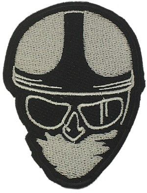 CLASSIC HEAD WOVEN PATCH SILVER - Speedwear Ltd