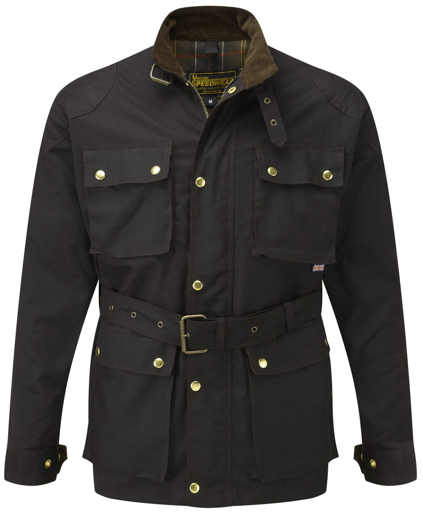 BROWN GRESFORD WAX COTTON MOTORCYCLE JACKET - Speedwear Ltd - 1
