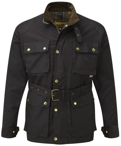 DARK BROWN CLASSIC WAX COTTON MOTORCYCLE JACKET - Speedwear Ltd - 1
