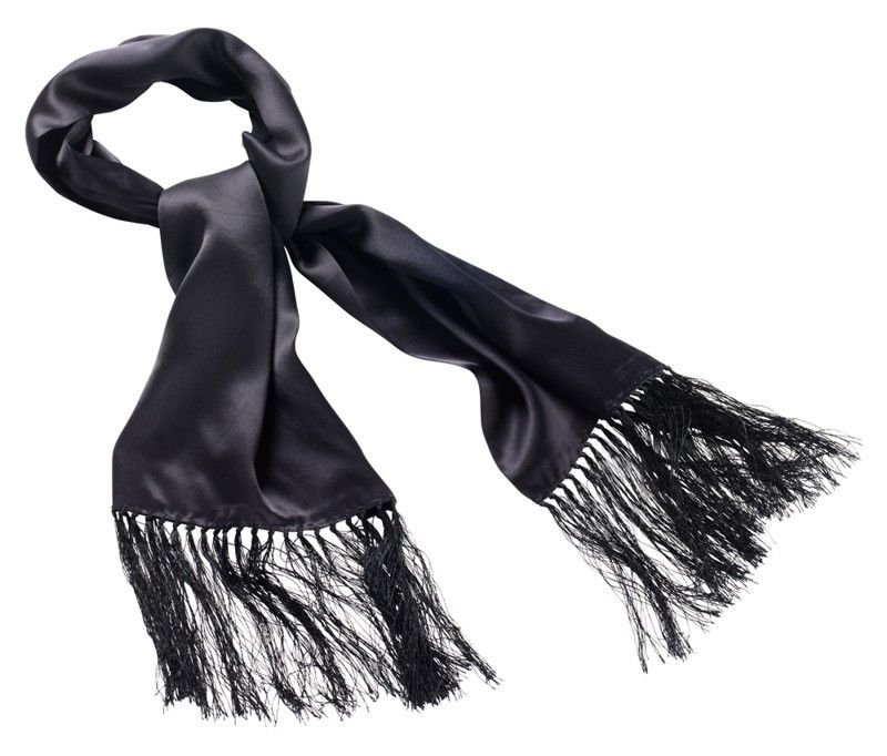 BLACK SATIN SILK SCARF - Speedwear Ltd