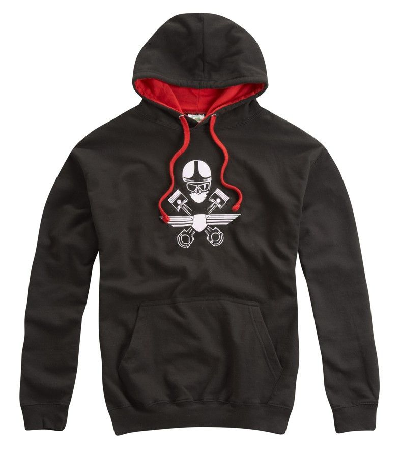 CAFE RACER CROSSED PISTONS HOODED TOP RED - Speedwear Ltd