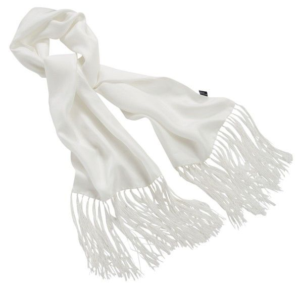 WHITE SATIN SILK SCARF - Speedwear Ltd