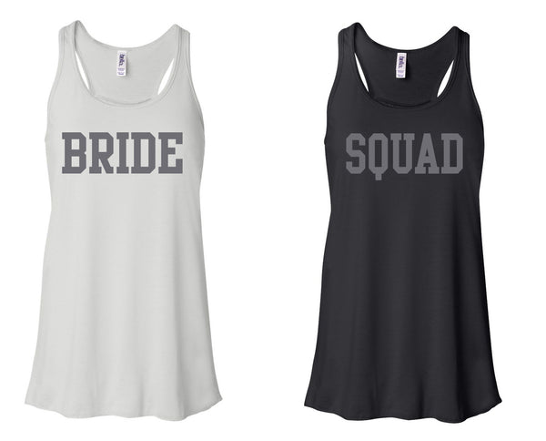 """BRIDE"" & ""SQUAD"" Flowy, Racerback Tank  White and Black"