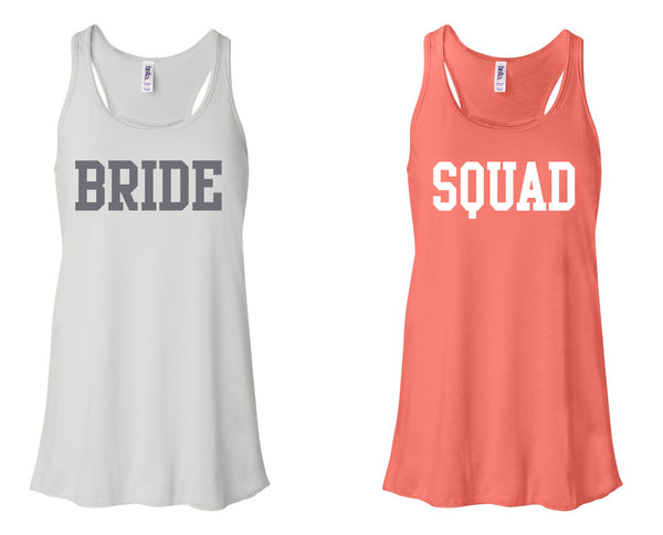 """BRIDE"" & ""SQUAD"" Flowy, Racerback Tank  White and Coral"