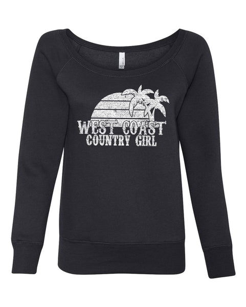 West Coast Country Girl - Ladies, Wide Neck, Fleece Sweatshirt