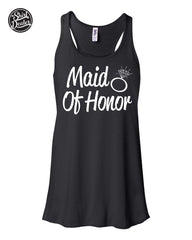 "Flowy Tank Top ""Maid Of Honor"" Retro Wedding Tank, Wedding Party Tank Various Colors"