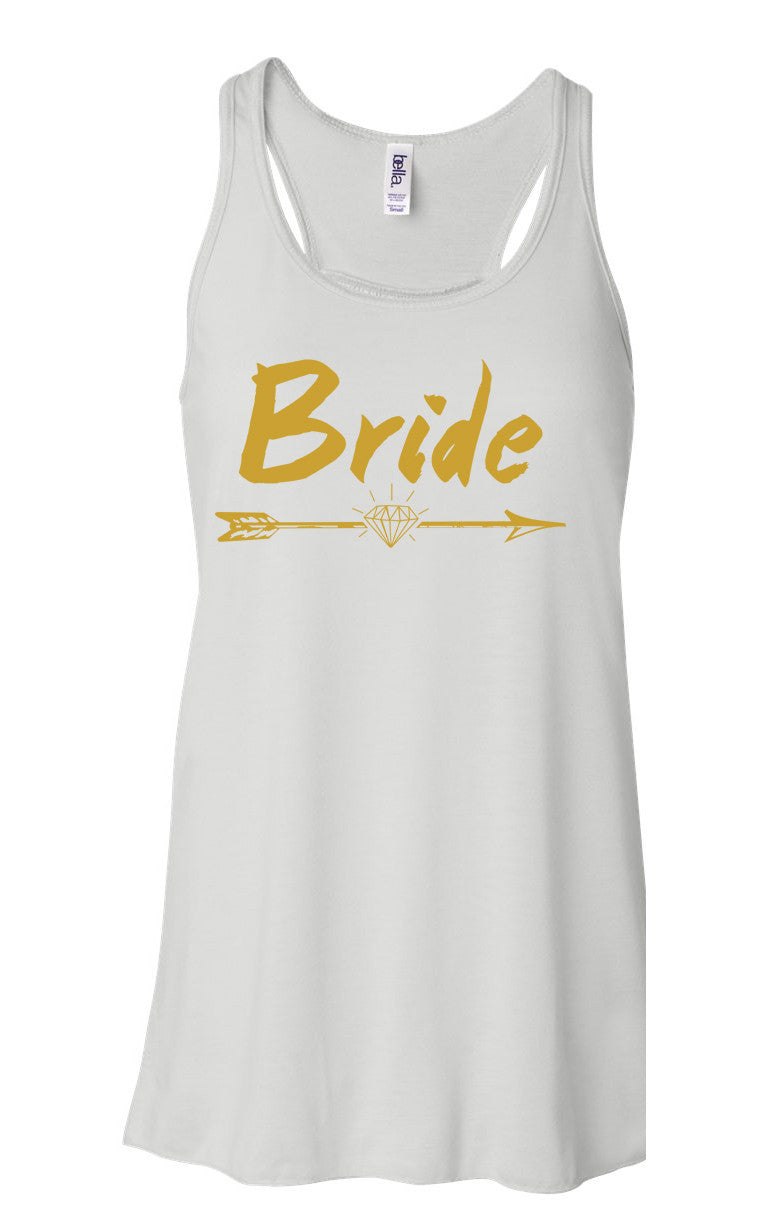 Bride + Bride Tribe - Flowy, Racerback Tank Top - White & Mint w/ Gold