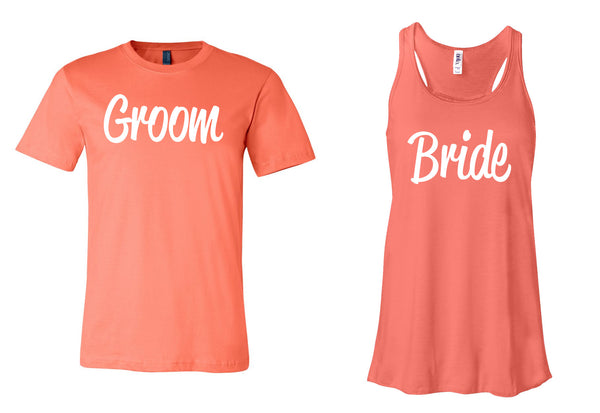 BRIDE & GROOM  T Shirt and Tank Top Available in X Small - XX Large Various Colors