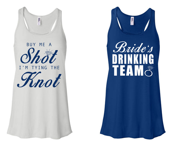 """Buy Me A Shot I'M Tying The Knot"" & ""Bride's Drinking Team"" Bachelorette-Party-Shirts White and True Royal"
