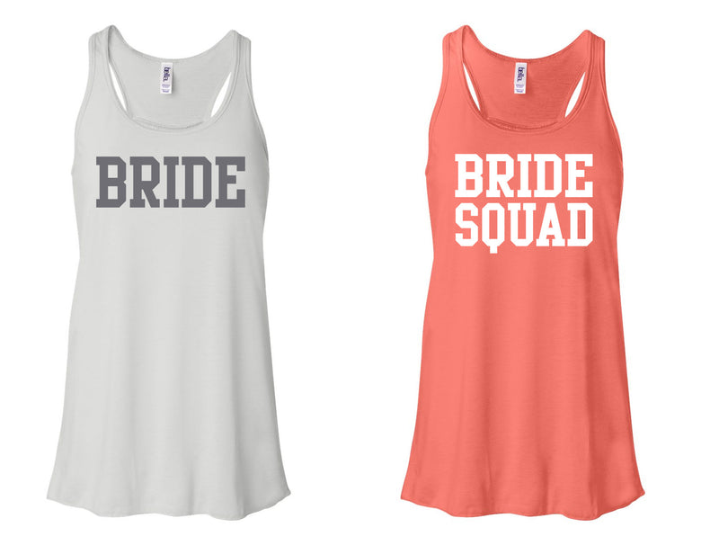 """Bride"" & ""Bride Squad"" Flowy, Racerback Tank White and Coral"