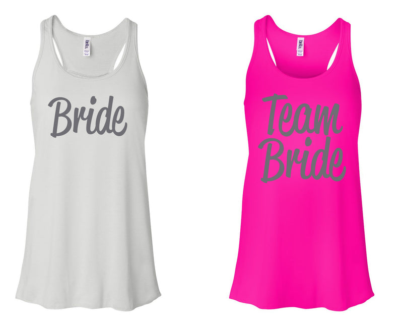 """BRIDE 2"" & ""Team Bride 2"" Bachelorette-Party-Shirts-Bachelorette-Party-Tank Tops White and Neon Pink"