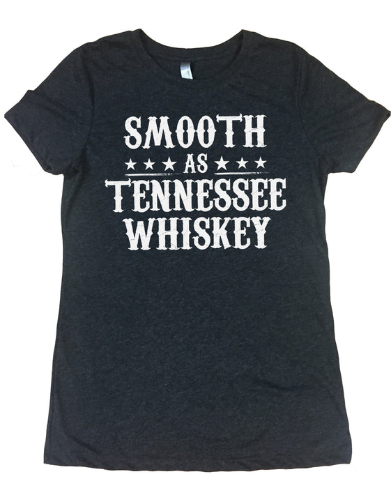 Smooth As Tennessee Whiskey - Ladies, Tri Blend, Crew Neck Tee Shirt - Vintage Black