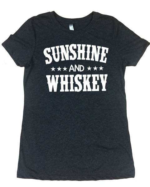 Sunshine & Whiskey - Ladies, Tri Blend, Crew Neck Tee Shirt - Vintage Black