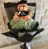 Graduation Bear Bouquet | Graduation Flower Bouquet Singapore  | Graduation Hand Bouquet