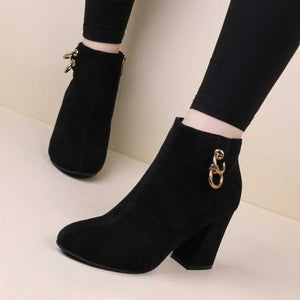 Bottines en velours a Talon Haut