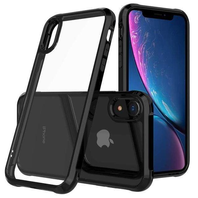 Coque de luxe en chrome transparent haute protection pour iPhone - iPhone X / Noir