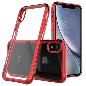 Coque de luxe en chrome transparent haute protection pour iPhone - iPhone X / Rouge