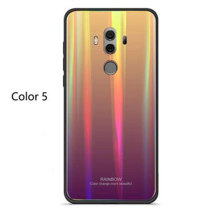 Coque en verre trempé de luxe Arc-En-Ciel pour Huawei - Huawei P20 / Orange Arc En Ciel - Fitted Cases