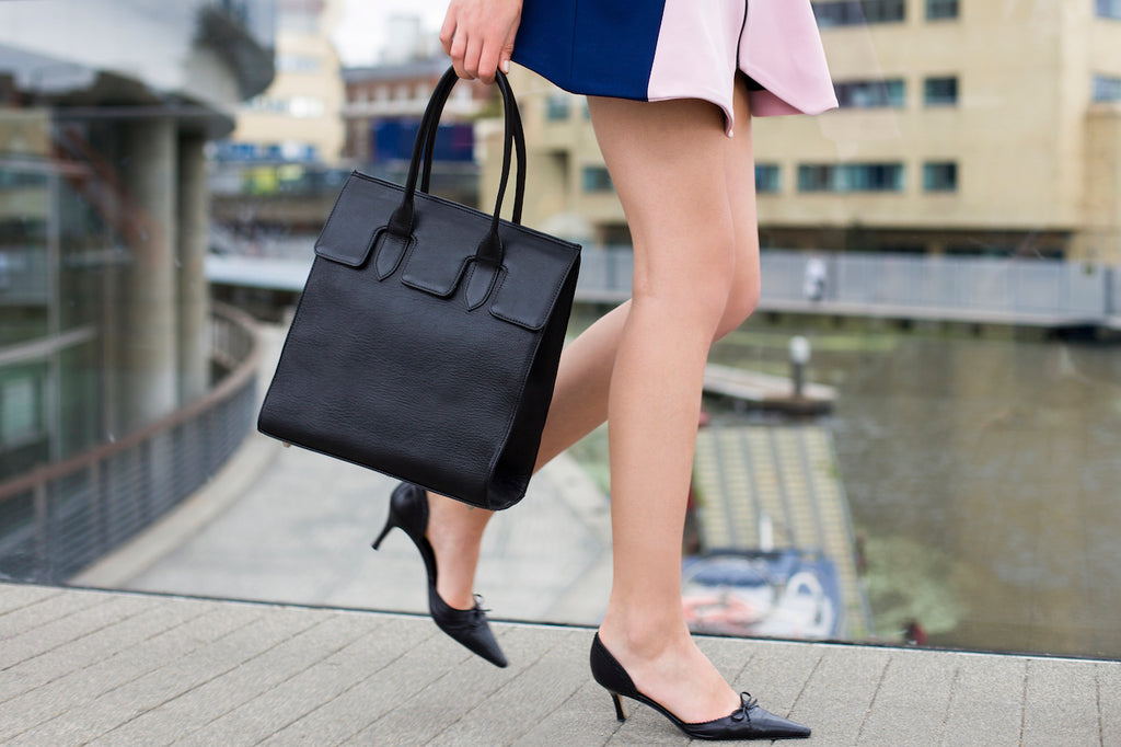 ethical leather black tote bag